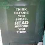 Words of wisdom on the Green Apple book cart