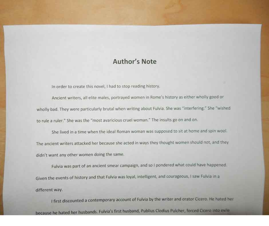 "Author's Note by Kathleen Colvin, ""In order to create this novel ..."