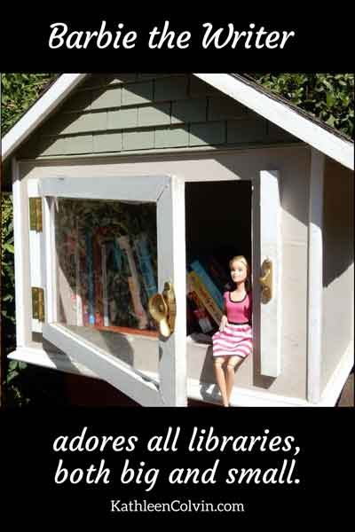 Barbie sitting in a small neighborhood sharing library. Barbie the Writer adores all libraries, both big and small. By Kathleen Colvin