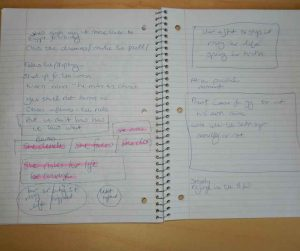 Notebook page with the structure of a story handwritten by Kathleen Colvin