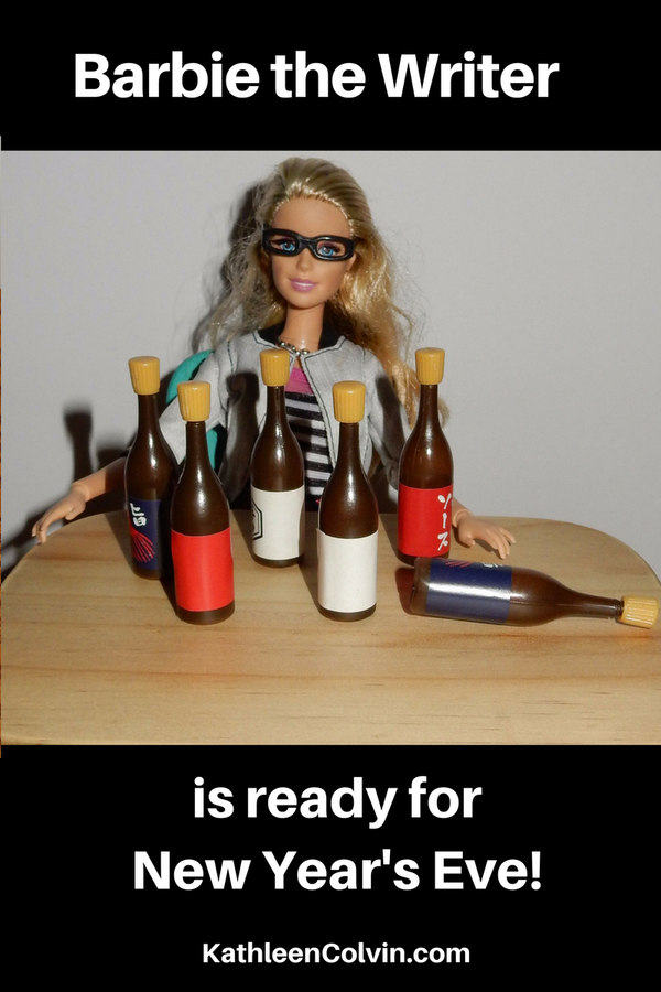 Barbie the Writer at a table with wine bottles