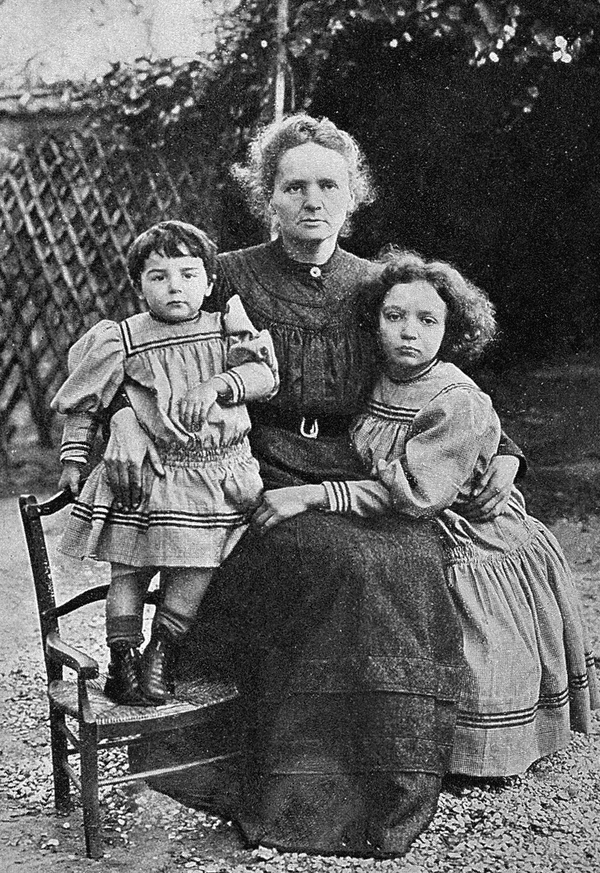 Photo of Marie Curie and her children